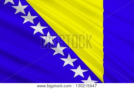 Flag of Bosnia and Herzegovina. The three points of the triangle stand for the three peoples of Bosnia and Herzegovina: Bosniaks Croats and Serbs.