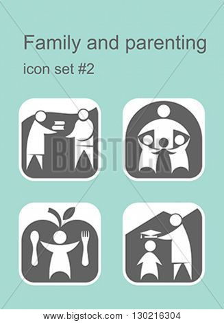 Family and parenting icons. Set of editable vector color illustrations.