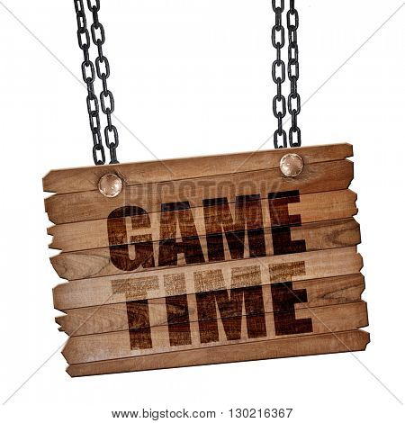 game time, 3D rendering, wooden board on a grunge chain