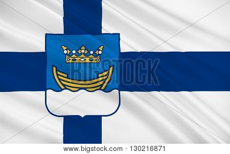 Flag of Helsinki is the capital and largest city of Finland. It is in the region of Uusimaa in southern Finland on the shore of the Gulf of Finland