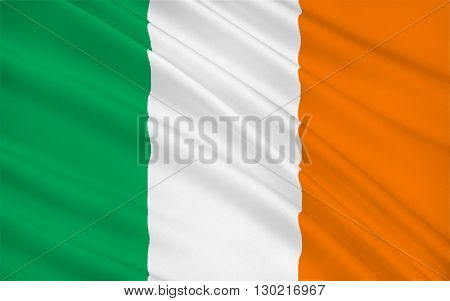 Flag of Ireland - frequently referred to as the Irish tricolor. The green represents the Gaelic tradition of Ireland the orange represents the followers of William of Orange and the white represents the aspiration for peace between them.
