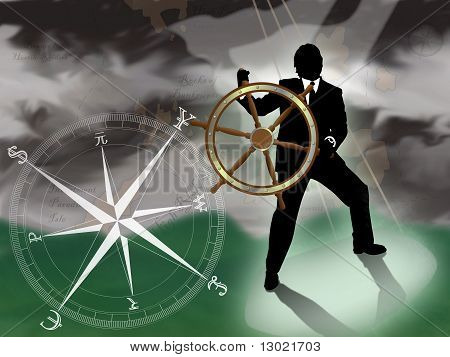 Representative of turmoil in world currencies.  Businessman/banker/broker at sea trying to navigate a storm with international currencies compass. : Bigstock