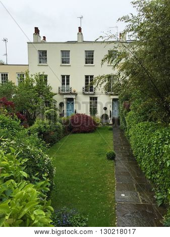 LONDON - MAY 18: Smart townhouse and front garden on May 18, 2016 in Hampstead, London, UK.