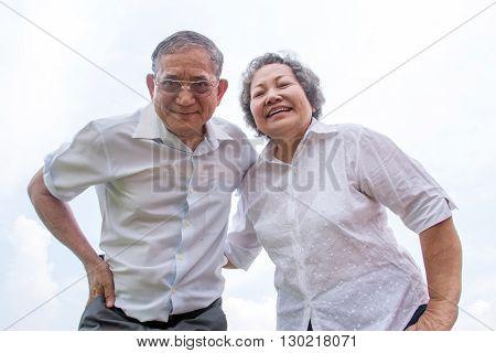 Asian Grandmother And Grandmather Smile