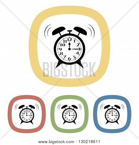 Alarm clock colorful icon in cartoon style