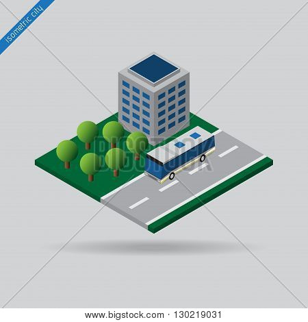 isometric city - bus on road with the dashed line building and trees
