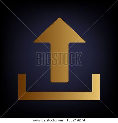 Upload sign. Golden style icon on dark blue background.