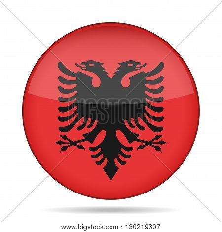 button with national flag of Albania and shadow