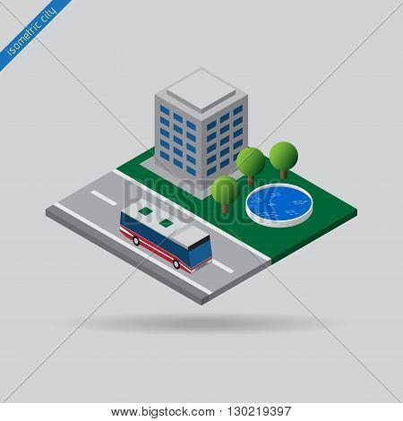 isometric city - bus on road with the dashed line building trees and swimming pool