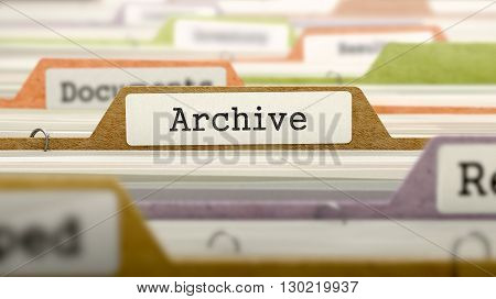 Archive - Folder Register Name in Directory. Colored, Blurred Image. Closeup View. 3D Render.