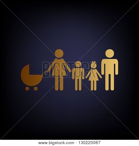 Family sign. Golden style icon on dark blue background.