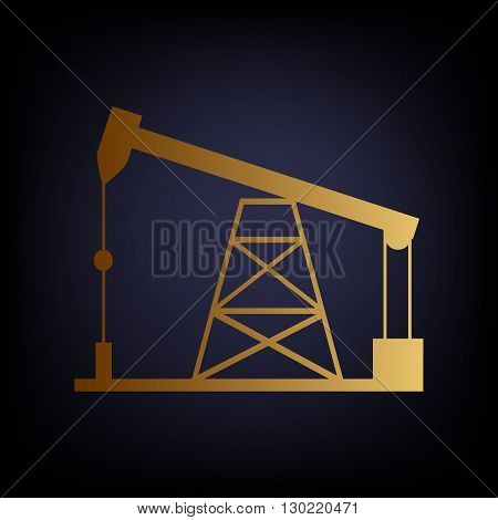 Oil drilling rig sign. Golden style icon on dark blue background.