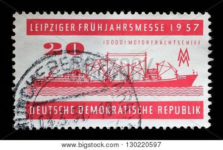 ZAGREB, CROATIA - JULY 02: a stamp printed in GDR shows Crushing and Conveyor Plant, Magdeburg, Leipzig Fair, circa 1957, on July 02, 2014, Zagreb, Croatia