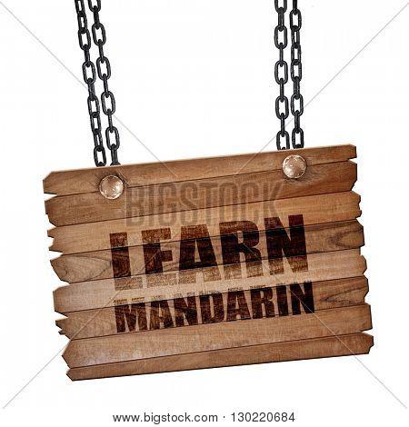 learn mandarin, 3D rendering, wooden board on a grunge chain