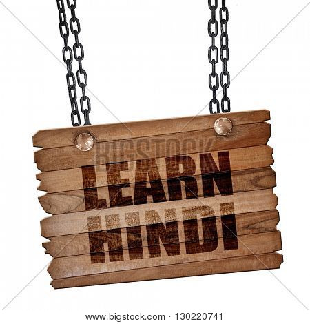 learn hindi, 3D rendering, wooden board on a grunge chain