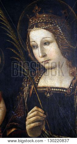 ZAGREB, CROATIA - DECEMBER 12: Follower of Bernardin Pinturicchi: Saint Catherine of Alexandria , exhibited at the Great Masters Renaissance in Croatia, opened December 12, 2011. in Zagreb, Croatia