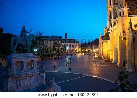 BUDAPEST, HUNGARY- JULY 07: Fishermans Bastion yard in evening, in July 07 in 2015 Budapest, Hungary