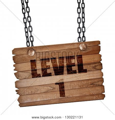 level 1, 3D rendering, wooden board on a grunge chain