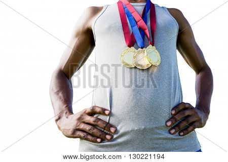 Low angle view of sportsman chest with medals