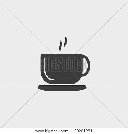 Coffee cup icon in black color. Vector illustration eps10