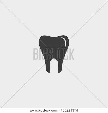 Tooth Icon in black color. Vector illustration eps10