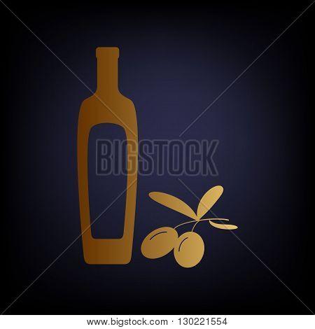 Black olives branch with olive oil bottle sign. Golden style icon on dark blue background.