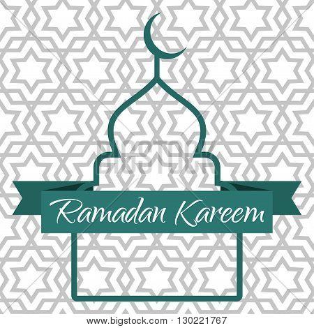 Ramadan Kareem greeting card. Contour of the mosque and the ribbon