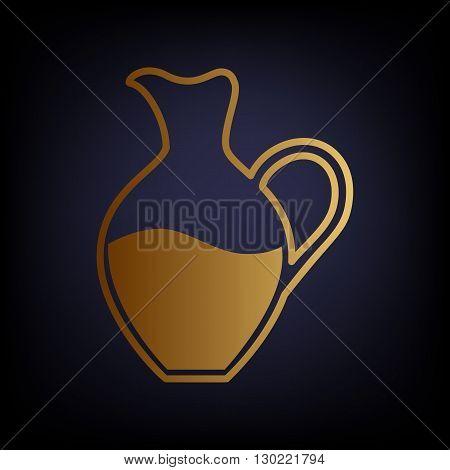 Amphora sign. Golden style icon on dark blue background.