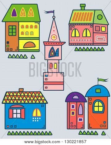Set of the stylized houses. Nine fantastic lodges, fabulous pictures for children. Vector illustration. It can be used for websites, children's magazines and advertisment