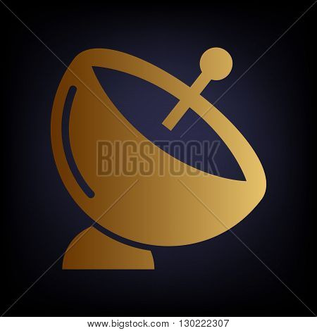 Satellite dish sign. Golden style icon on dark blue background.