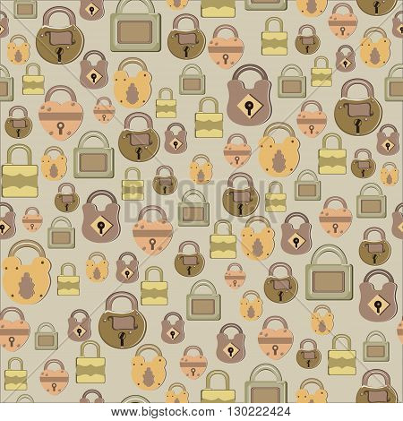 Seamless pattern with retro locks - vector illustration