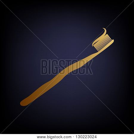 Toothbrush with applied toothpaste portion. Golden style icon on dark blue background.