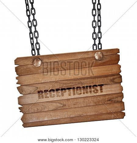 receptionist, 3D rendering, wooden board on a grunge chain