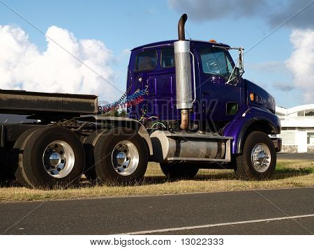 Purple Truck by Road Side