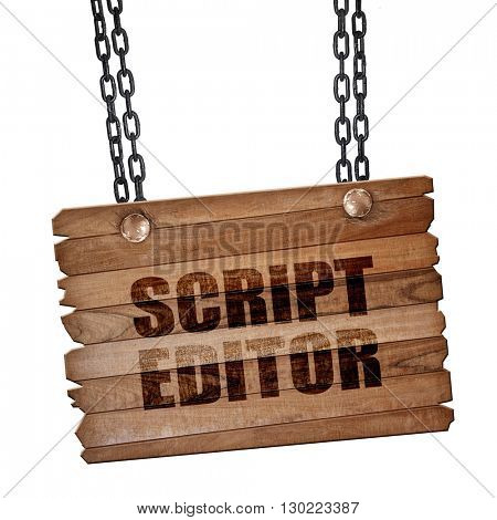 script editor, 3D rendering, wooden board on a grunge chain