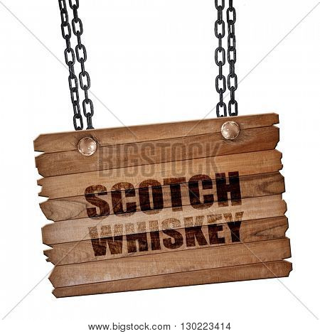scotch whiskey, 3D rendering, wooden board on a grunge chain
