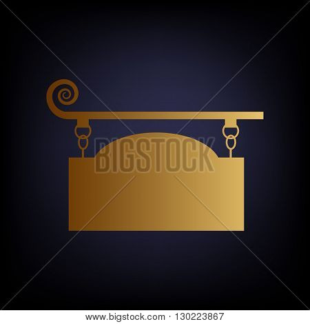 Vector wrought iron sign for old-fashioned design. Golden style icon on dark blue background.