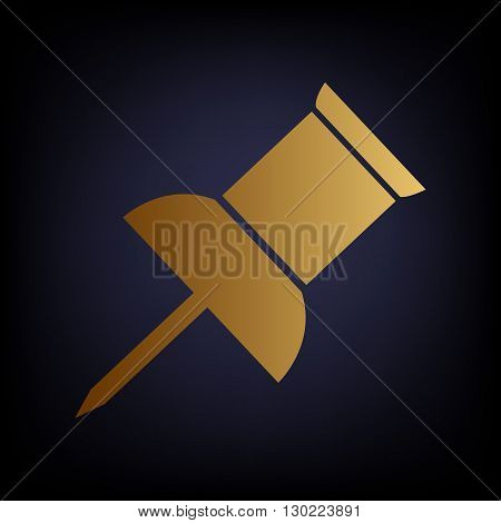 Pin push sign. Golden style icon on dark blue background.