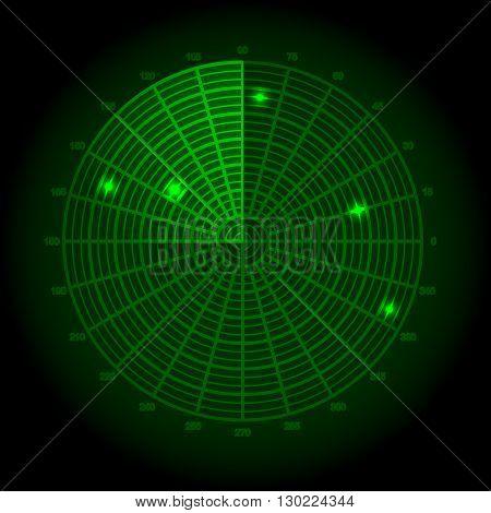 Green radar screen. Vector illustration for your design