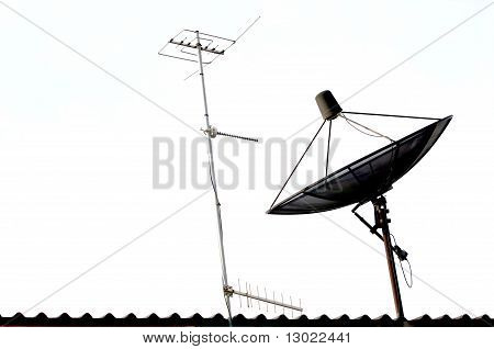 Satellite dish and Radio Antenna on the Roof