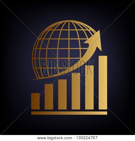 Growing graph with earth. Golden style icon on dark blue background.