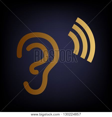Human ear sign. Golden style icon on dark blue background.