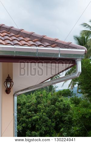 Gutter Roof On House In Rainy Day