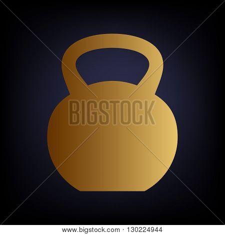 Fitness Dumbbell sign. Golden style icon on dark blue background.
