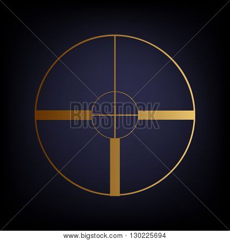 Sight sign. Golden style icon on dark blue background.