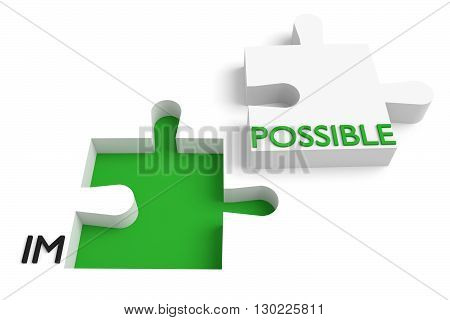 Puzzle piece impossible or possible green, 3d illustration