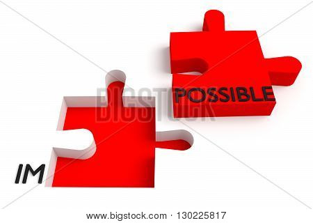 Puzzle piece impossible or possible red, 3d illustration