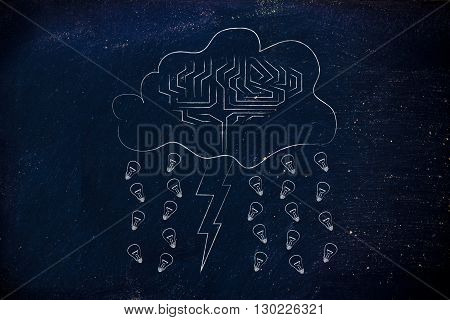 Stormy Cloud With Brain, Bolt & Rain Of Ideas