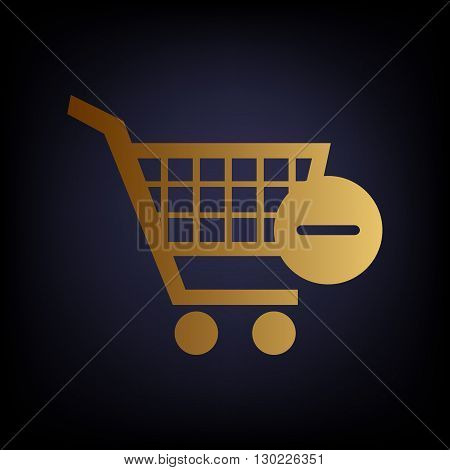 Vector Shopping Cart Remove from Cart Icon. Golden style icon on dark blue background.