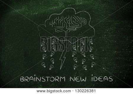 brainstorm new ideas: storm cloud with lightning bolt rain of ideas and brain design
